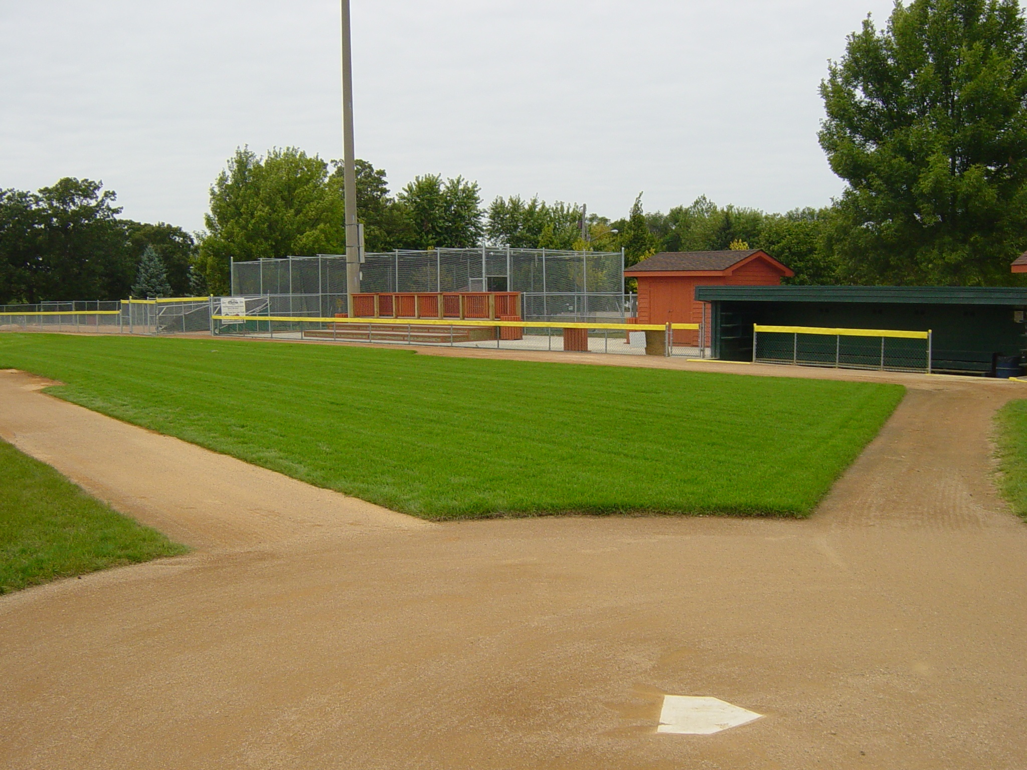 1B foul area, dugout & fan patio 2011. Veterans Field.
